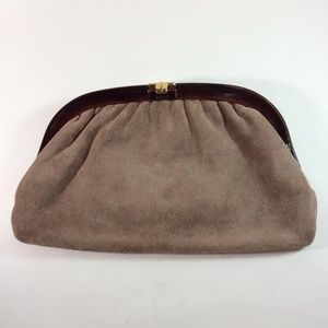 Vintage Italian Made Brown Suede Leather Clutch